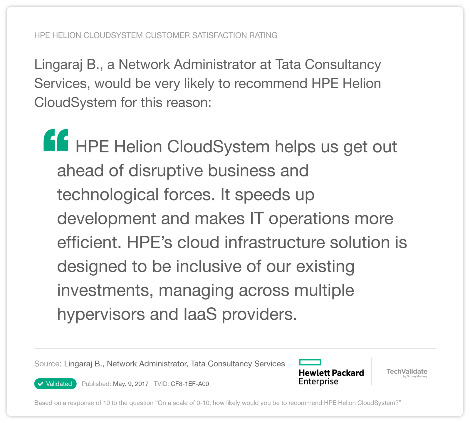 HPE Helion CloudSystem Customer Satisfaction Rating