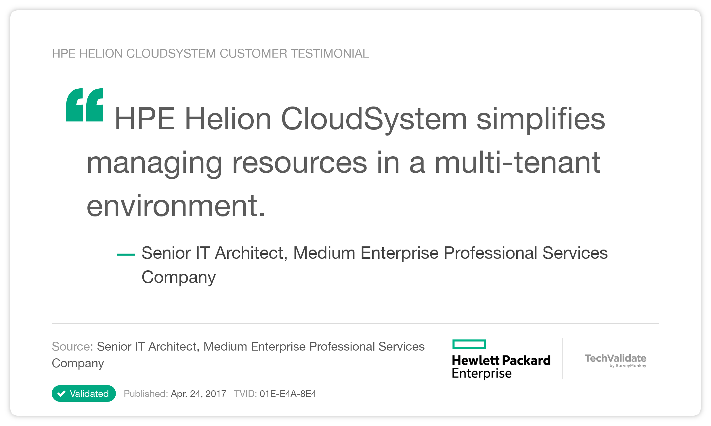 HPE Helion CloudSystem Customer Testimonial