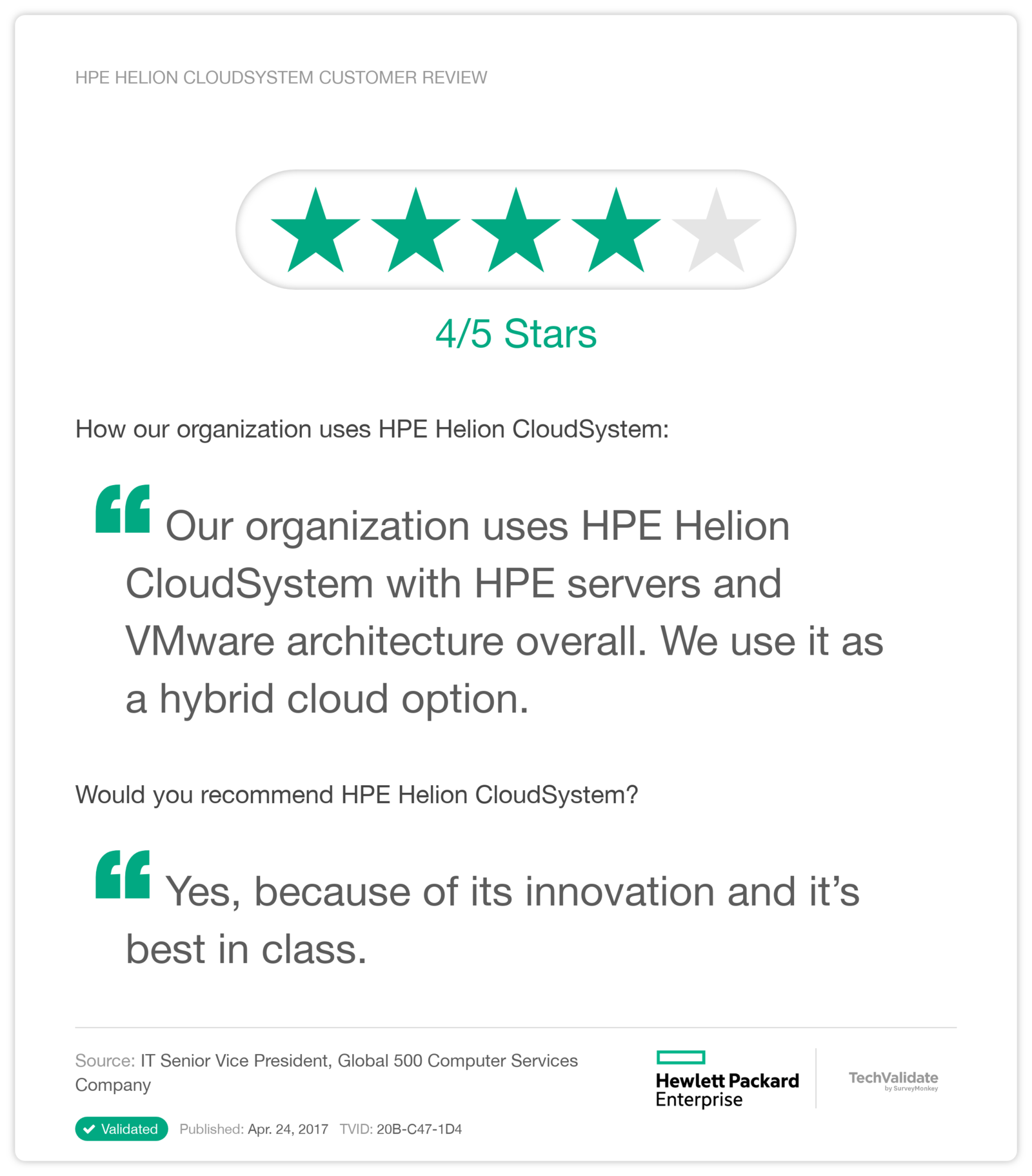 HPE Helion CloudSystem Customer Review
