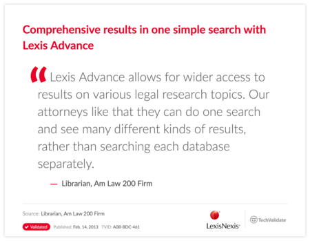 Comprehensive results in one simple search with Lexis Advance