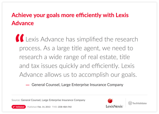 Achieve your goals more efficiently with Lexis Advance