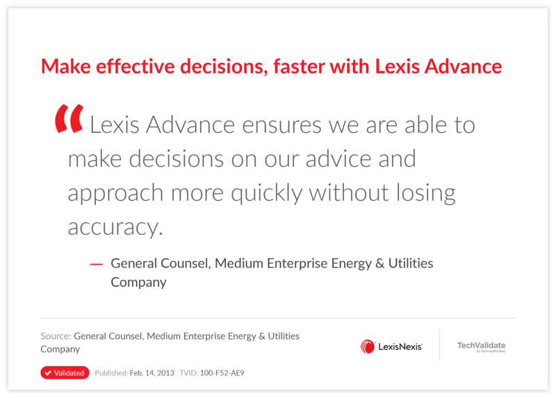 Make effective decisions, faster with Lexis Advance