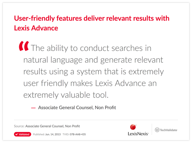 User-friendly features deliver relevant results with Lexis Advance