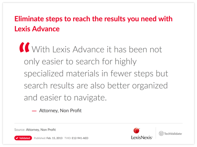Eliminate steps to reach the results you need with Lexis Advance