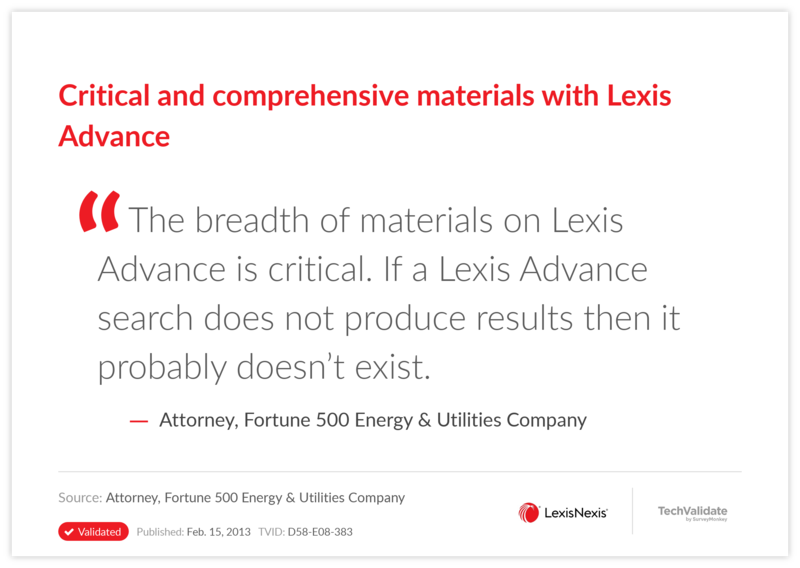 Critical and comprehensive materials with Lexis Advance