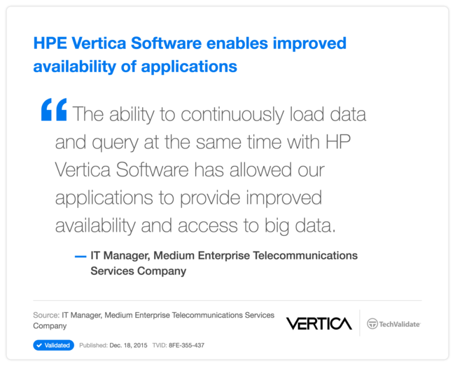 HPE Vertica Software enables improved availability of applications