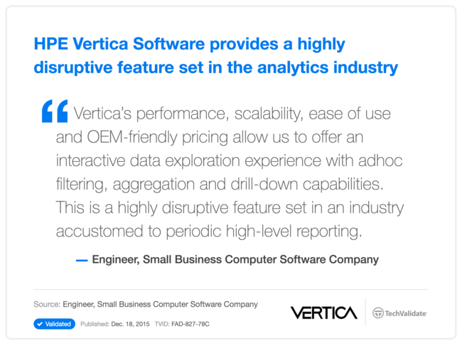 HPE Vertica Software provides a highly disruptive feature set in the analytics industry