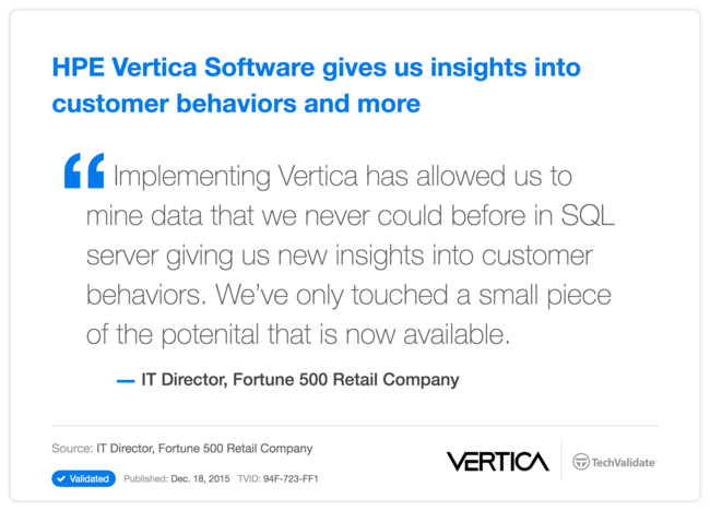HPE Vertica Software gives us insights into customer behaviors and more