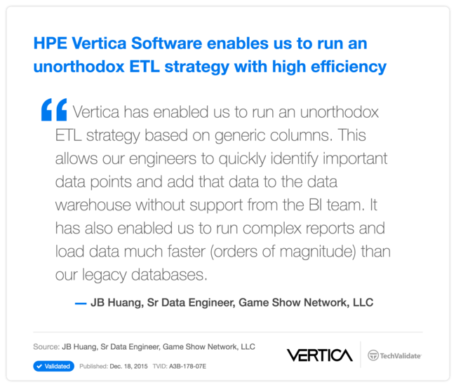 HPE Vertica Software enables us to run an unorthodox ETL strategy with high efficiency
