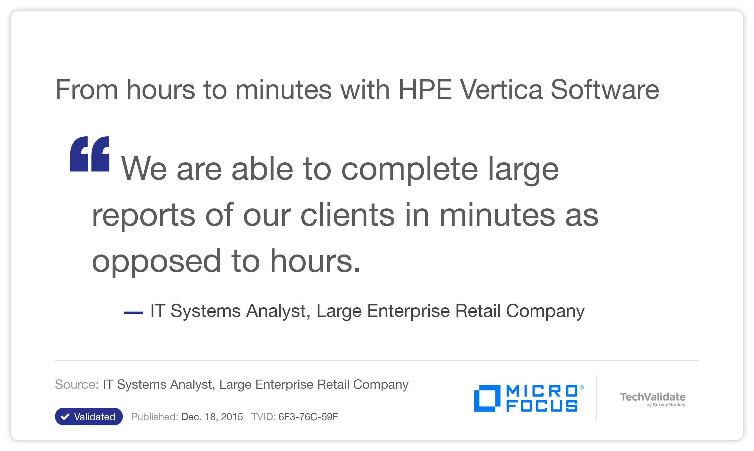From hours to minutes with HPE Vertica Software