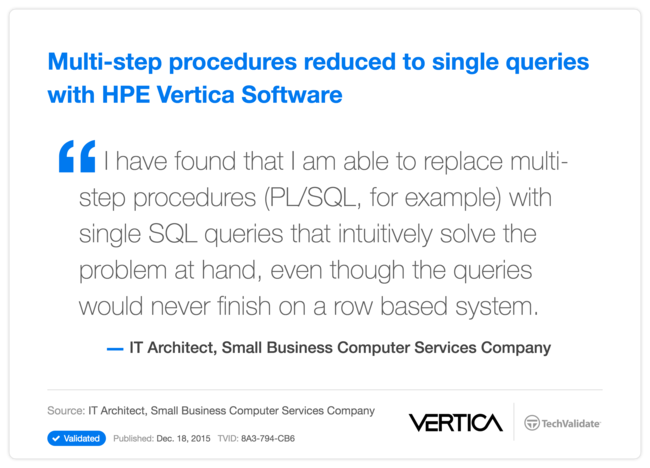 Multi-step procedures reduced to single queries with HPE Vertica Software