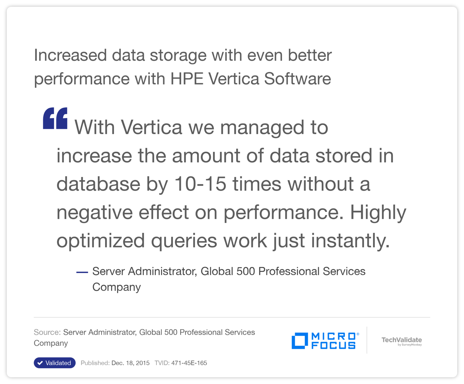 Increased data storage with even better performance with HPE Vertica Software