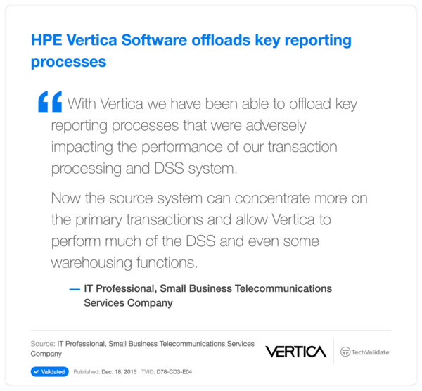 HPE Vertica Software offloads key reporting processes
