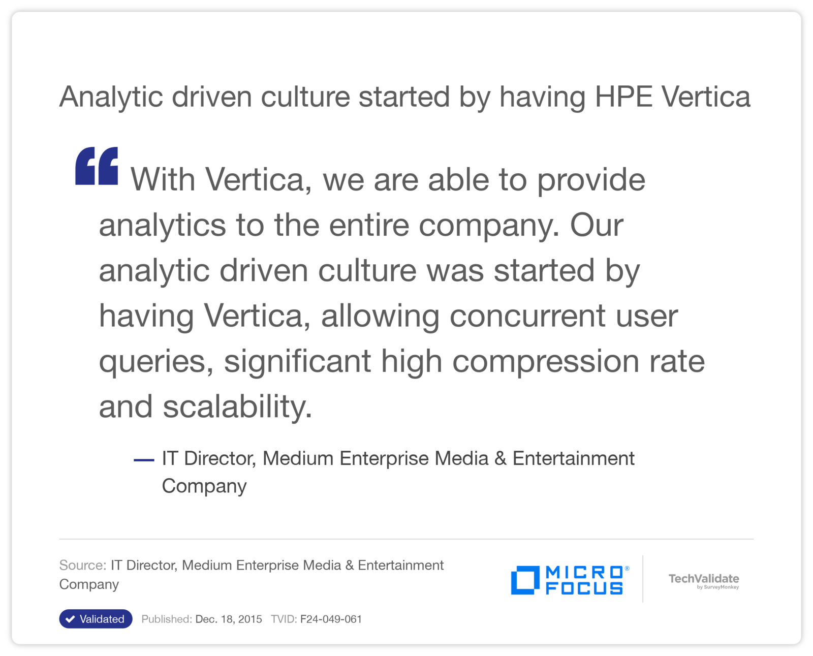 Analytic driven culture started by having HPE Vertica