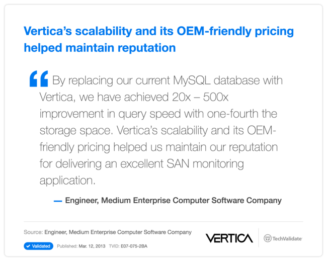 Vertica's scalability and its OEM-friendly pricing helped maintain reputation