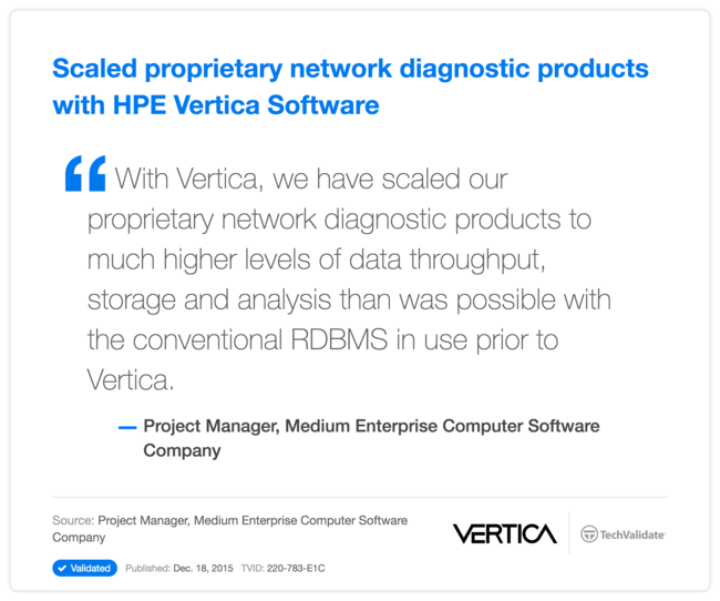 Scaled proprietary network diagnostic products with HPE Vertica Software