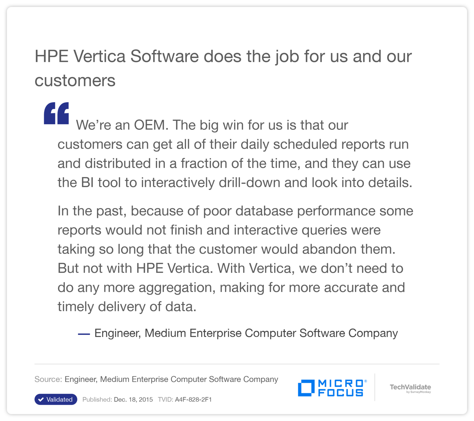 HPE Vertica Software does the job for us and our customers
