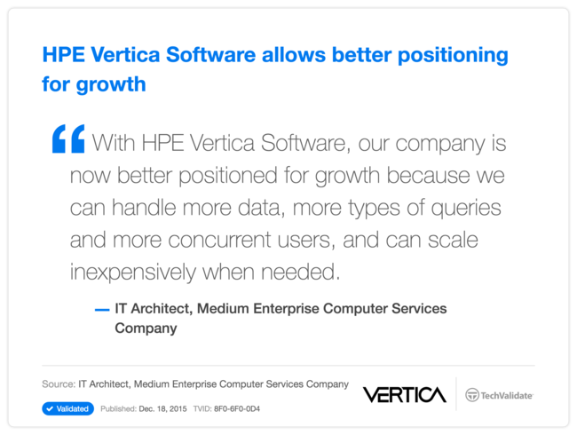 HPE Vertica Software allows better positioning for growth
