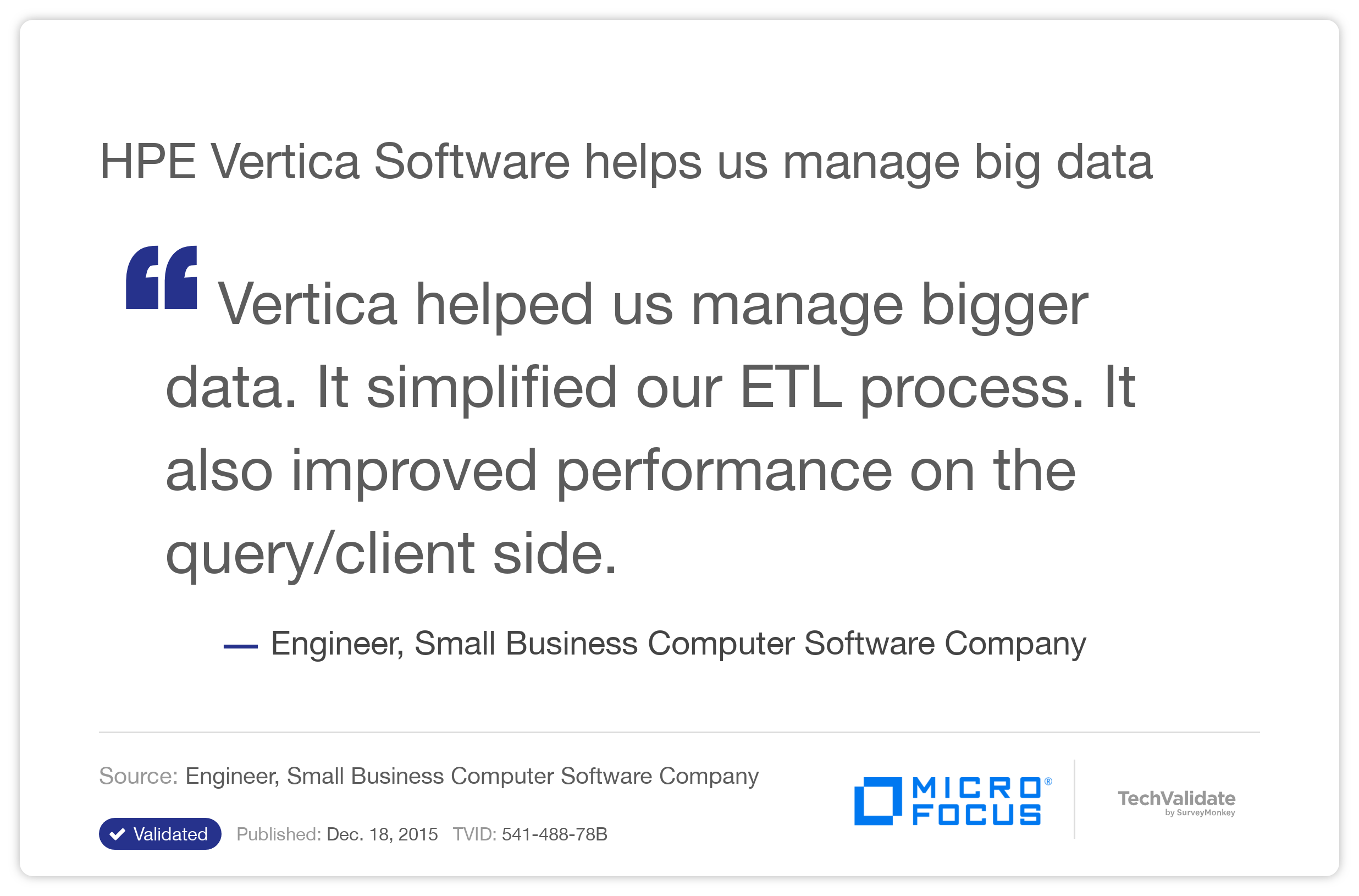 HPE Vertica Software helps us manage big data