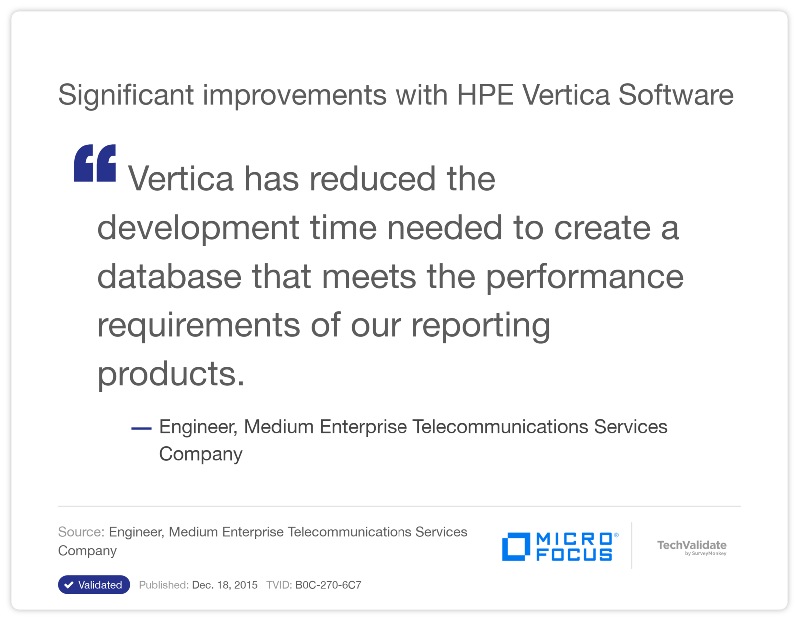 Significant improvements with HPE Vertica Software