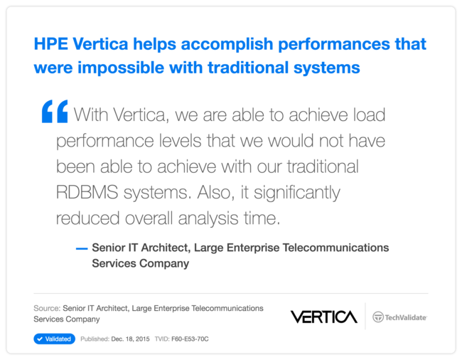 HPE Vertica helps accomplish performances that were impossible with traditional systems