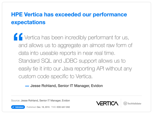 HPE Vertica has exceeded our performance expectations