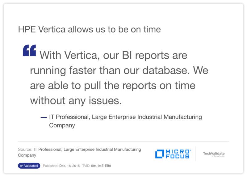 HPE Vertica allows us to be on time
