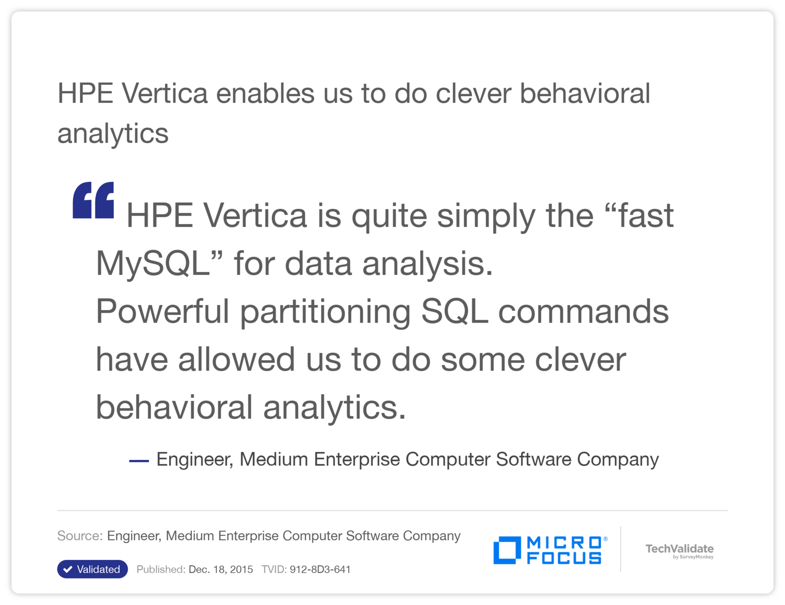 HPE Vertica enables us to do clever behavioral analytics
