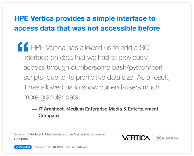 HPE Vertica provides a simple interface to access data that was not accessible before