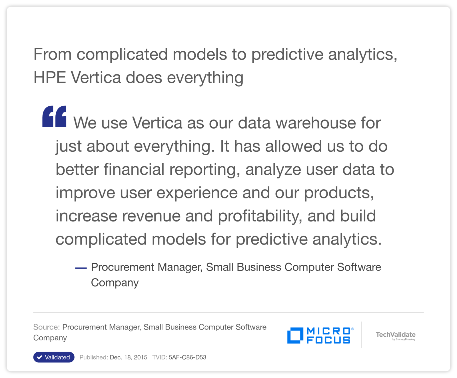 From complicated models to predictive analytics, HPE Vertica does everything