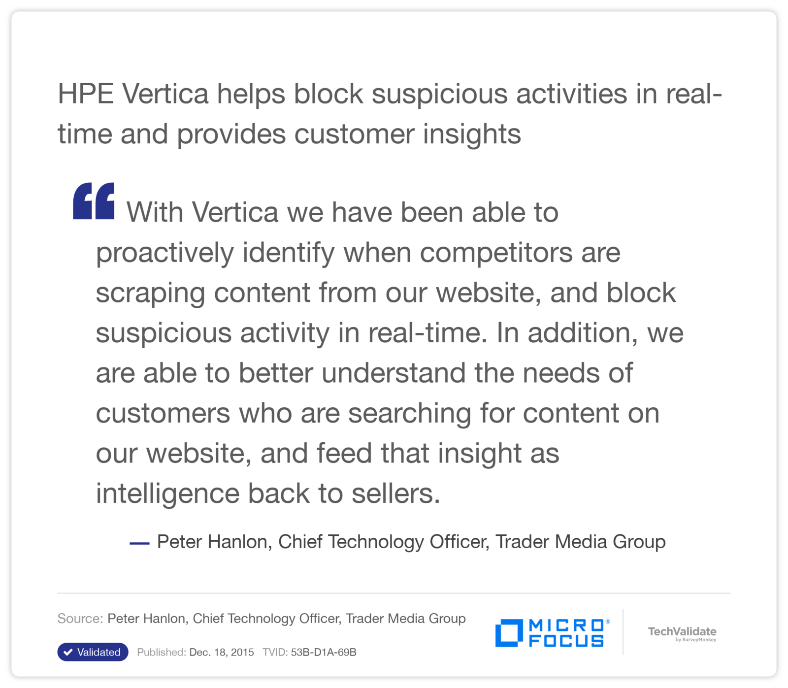 HPE Vertica helps block suspicious activities in real-time and provides customer insights