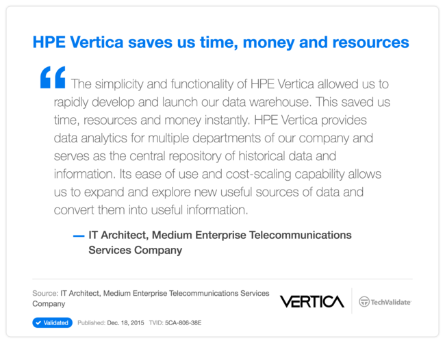 HPE Vertica saves us time, money and resources