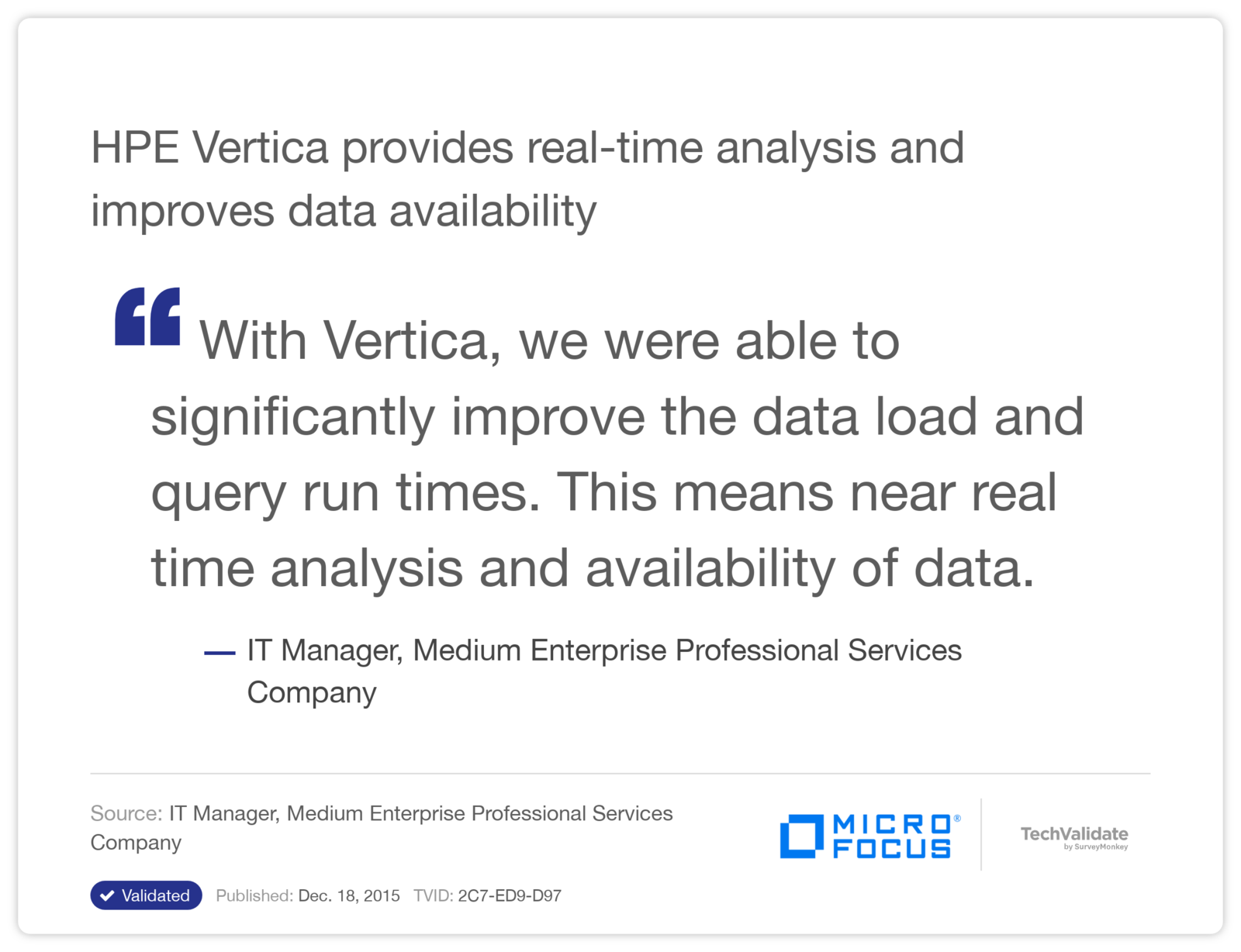 HPE Vertica provides real-time analysis and improves data availability