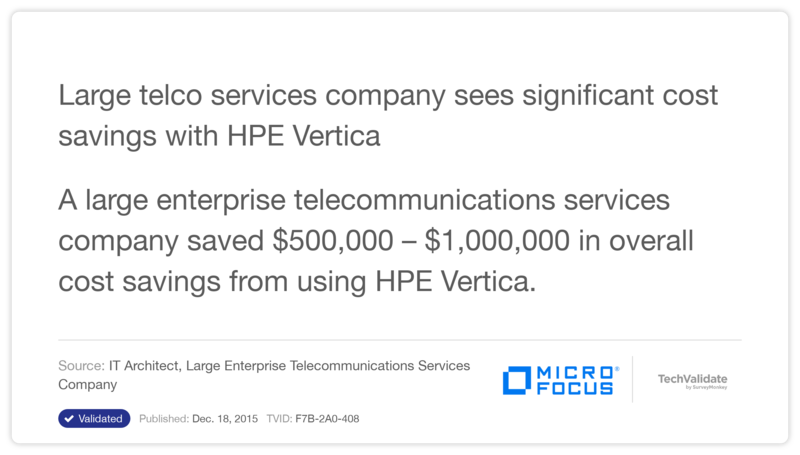 Large telco services company sees significant cost savings with HPE Vertica