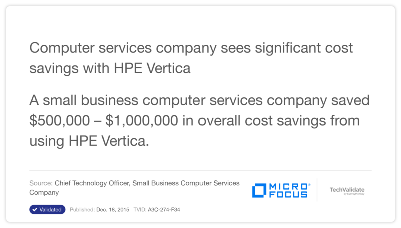 Computer services company sees significant cost savings with HPE Vertica