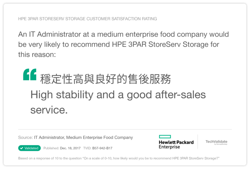 HPE 3PAR StoreServ Storage Customer Satisfaction Rating