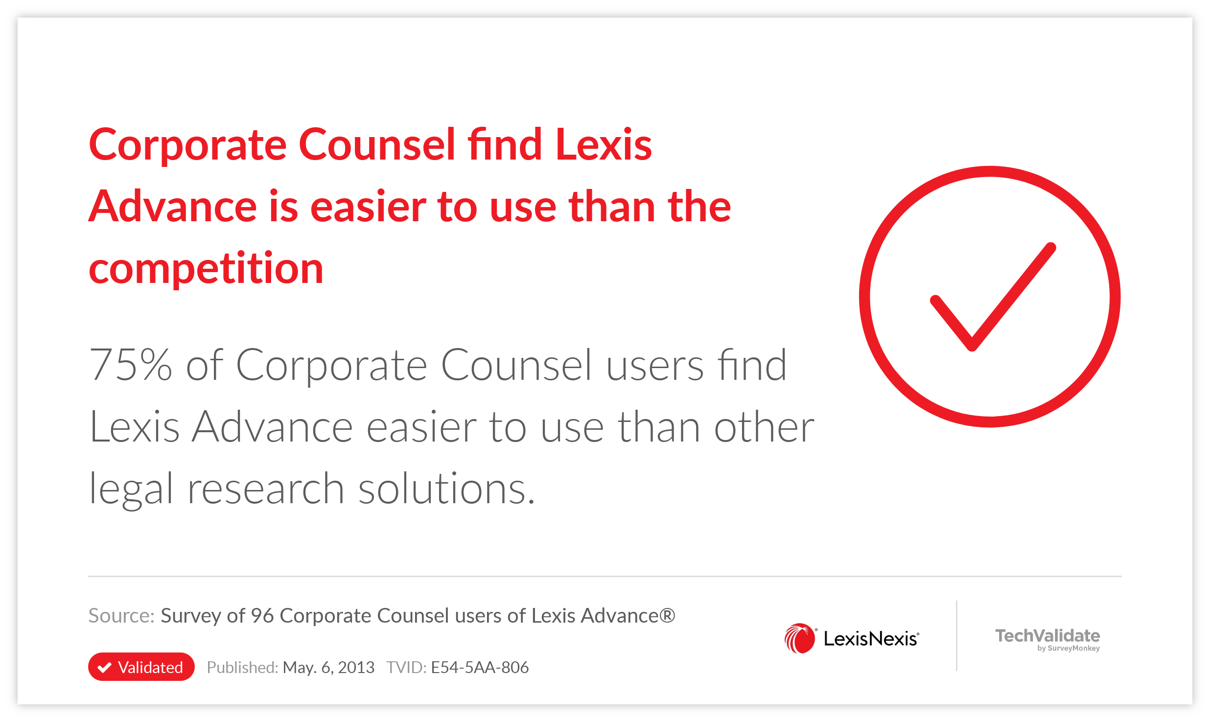 Corporate Counsel find Lexis Advance is easier to use than the competition