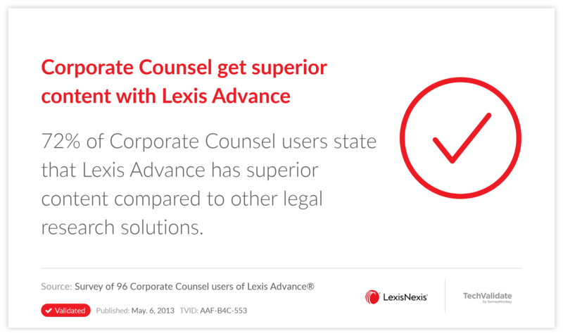 Corporate Counsel get superior content with Lexis Advance
