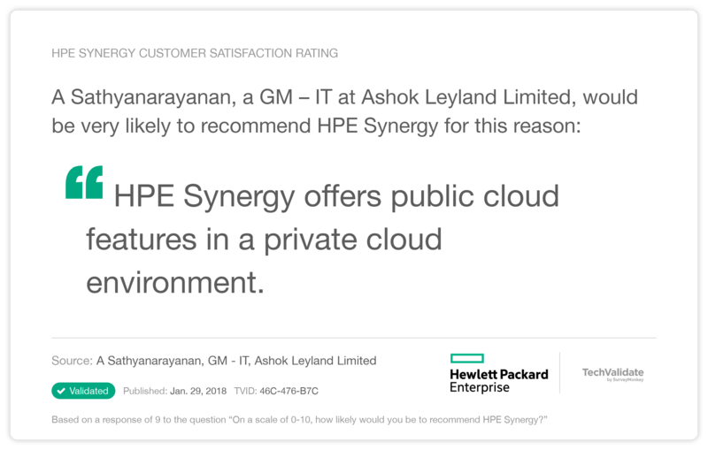 HPE Synergy Customer Satisfaction Rating