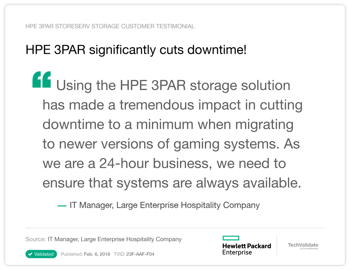 HPE 3PAR  significantly cuts downtime!