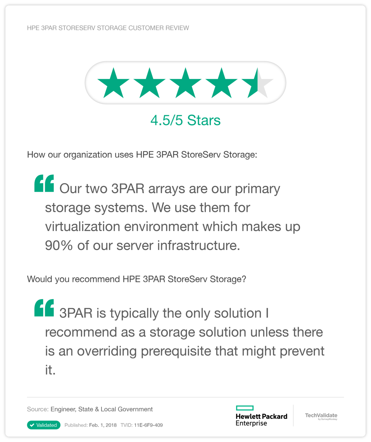 HPE 3PAR StoreServ Storage Customer Review
