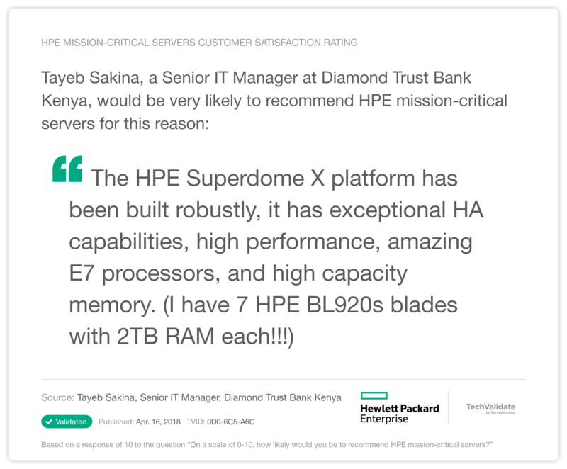 HPE mission-critical servers Customer Satisfaction Rating