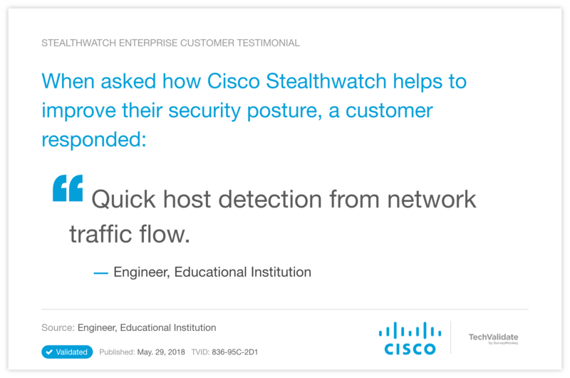 When asked how Cisco Stealthwatch helps to improve their security posture, a customer responded: