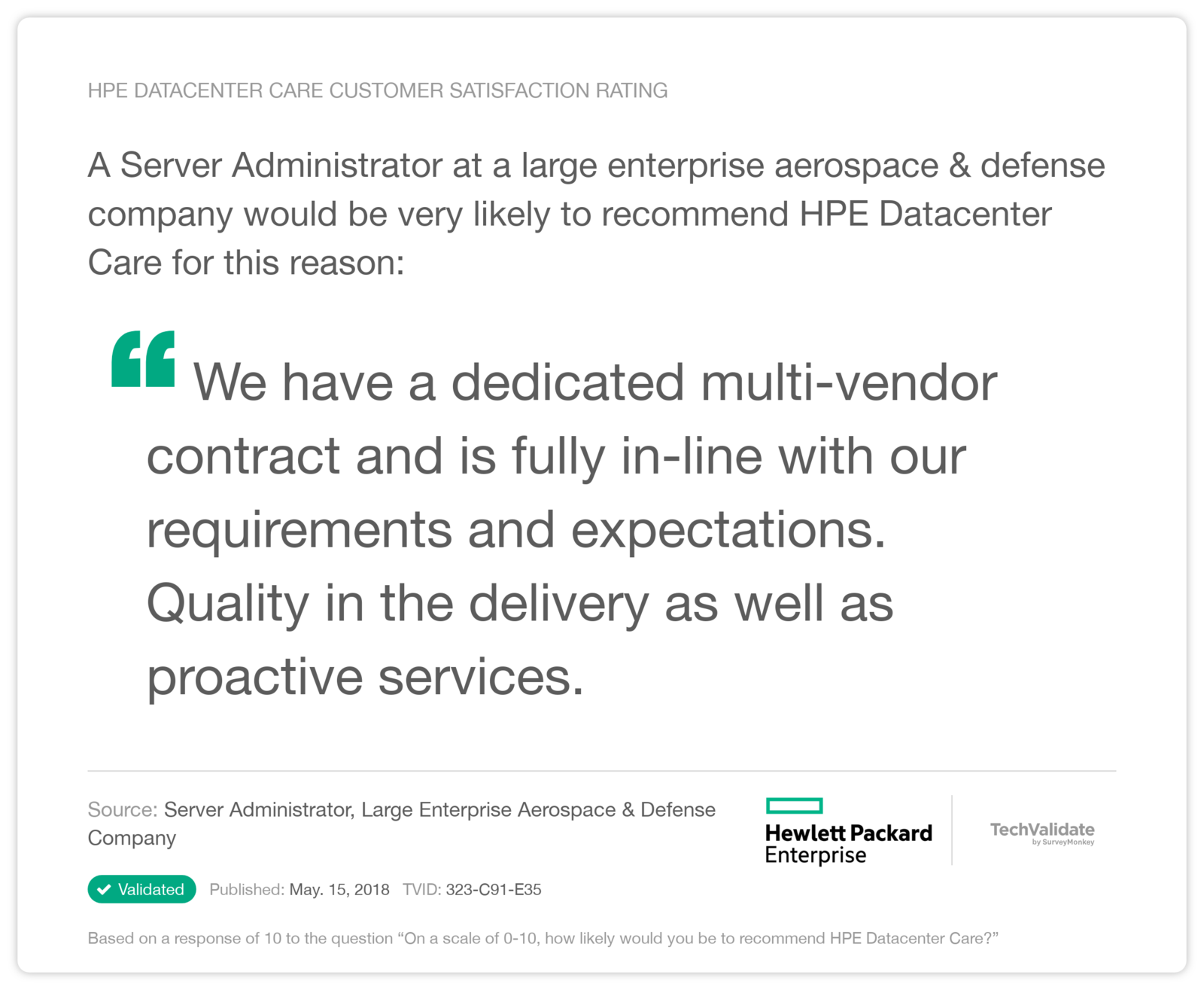 HPE Datacenter Care Customer Satisfaction Rating