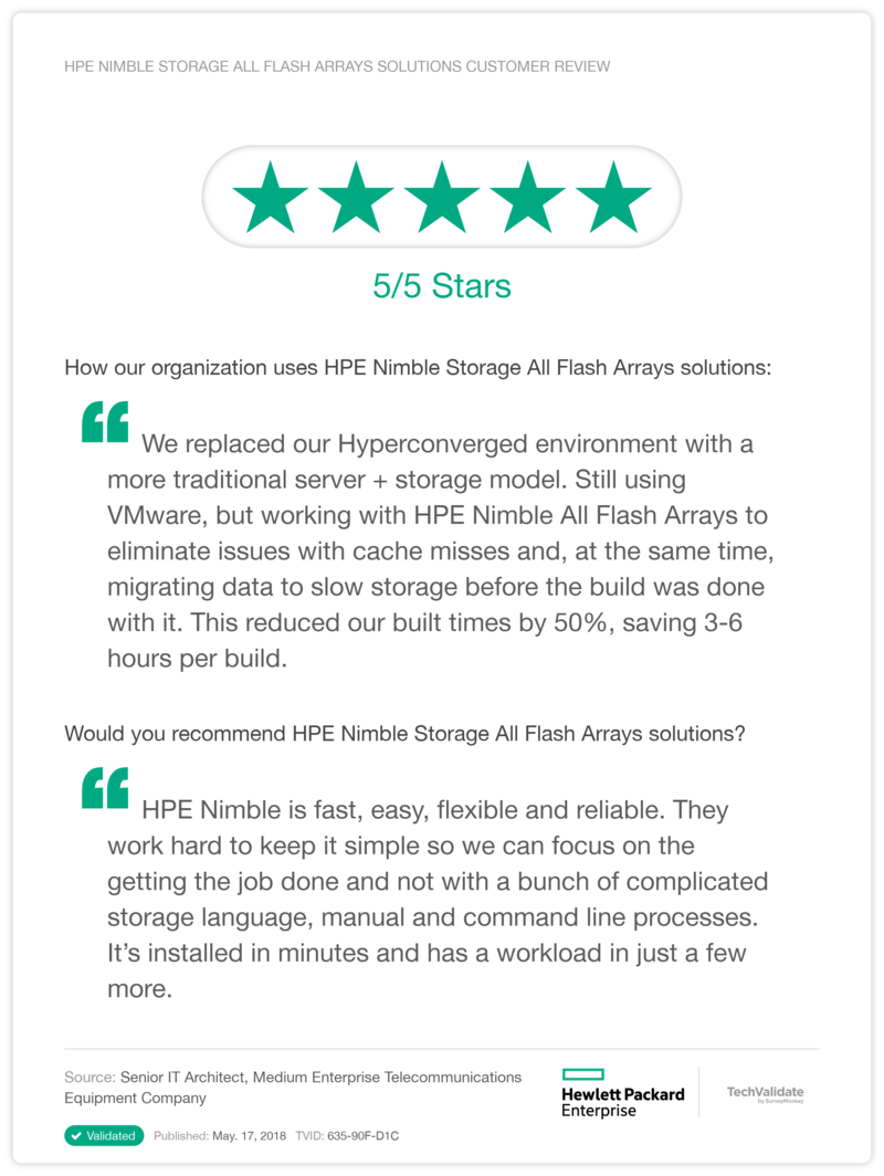 HPE Nimble Storage All Flash Arrays solutions Customer Review