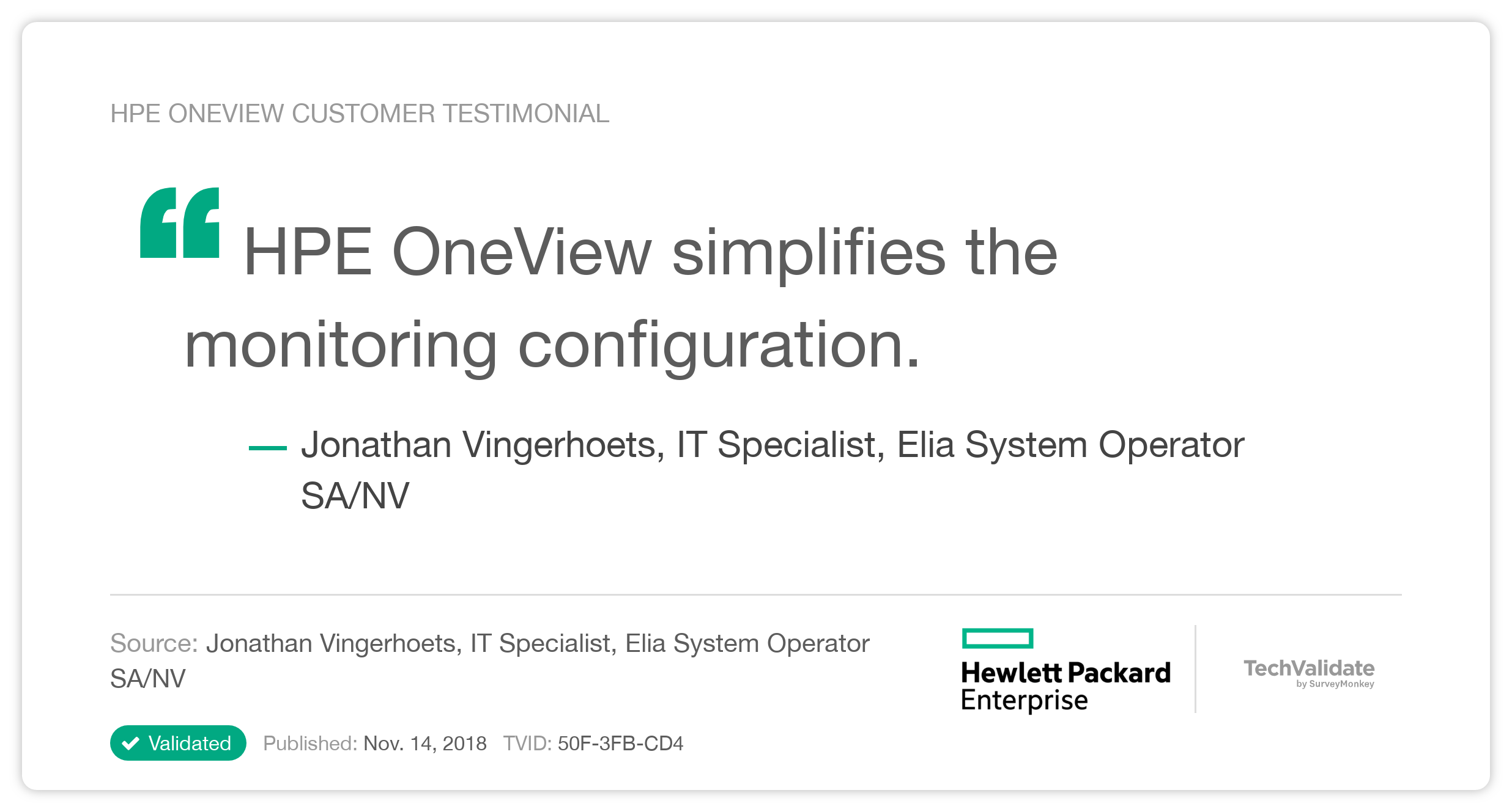 HPE OneView Customer Testimonial
