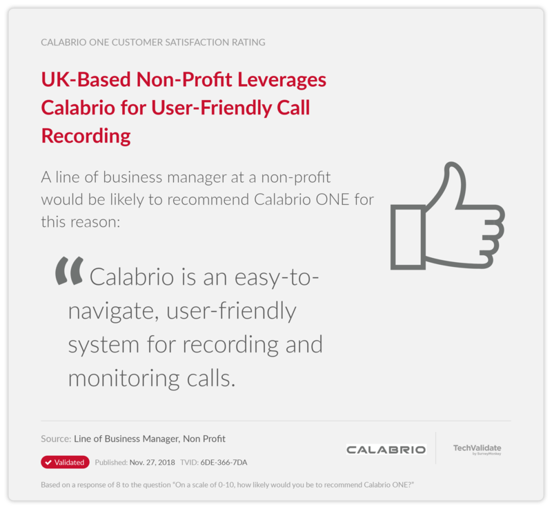 UK-Based Non-Profit Leverages Calabrio for User-Friendly Call Recording