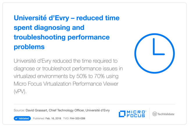 Université d'Evry-reduced time spent diagnosing and troubleshooting performance problems